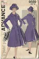 1960s Vintage Sewing Pattern Advance 9559 Misses Fit N Flare Peacoat Coat Fitted