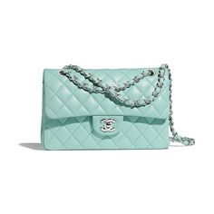 1515764d0a4a Small Classic Handbag - Light Blue - Lambskin & Silver-Tone Metal - Default  view. CHANEL