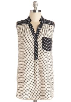 Girl About Scranton Tunic in Colorblock Dots. From the office to your favorite margarita-sipping spot, you entertain others in the effortless style of this breezy black-and-white top - a ModCloth exclusive!  #modcloth
