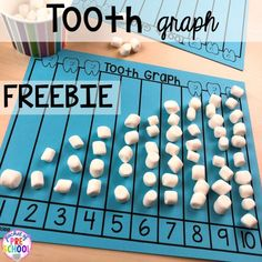Free tooth graph! Dental health themed activities and centers for preschool, pre-k, and kindergarten (FREEBIES too) #dentalhealththeme #preschool #pre-k #tooththeme