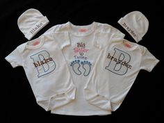 Big Sister to Twins Shirt 2 Personalized Beanie Hats 2 by LilMamas, $69.00