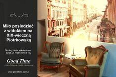 takich widoków u nas dostatek. Przyjedź, posiedź z kawą, poobserwuj i poczuj się jak w XIX-wiecznej Łodzi, mieście rozwijającego się przemysłu i rosnącego bogactwa. Pokoje z widokami zarezerwujesz bezpośrednio w Recepcji: tel 42 207 32 32, 503 085 000, recepcja@good-time.com.pl.