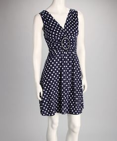 Take a look at this Navy Polka Dot Banded Dress by Star Vixen on #zulily today! Perfect Summer Dress!