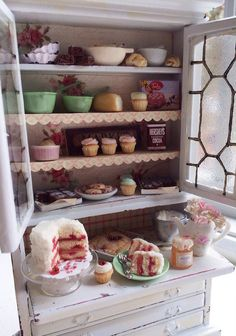 Miniature Vintage Bakery Hutch by CynthiasCottageShop on Etsy $195.00