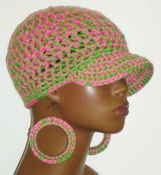 Alpha kappa Alpha AKA Crochet Baseball Cap and Earrings by Razonda Lee Pink and Green
