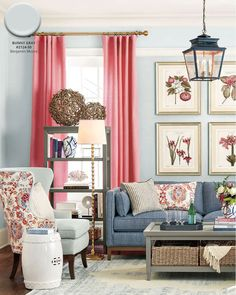Benjamin Moore's Bunny Gray paint color in living room from Ballard Designs catalog