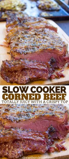 Dinner Recipes steak Crispy Slow Cooker Corned Beef with perfectly juicy slices of beef and crispy cr. Crispy Slow Cooker Corned Beef with perfectly juicy slices of beef and crispy crust this is the only corned beef recipe you'll ever use! Beef Brisket Crock Pot, Crock Pot Slow Cooker, Slow Cooker Recipes, Crockpot Recipes, Cooking Recipes, Corned Beef Crockpot, Corned Beef Hash, Best Corned Beef Recipe, Slow Cooker Brisket