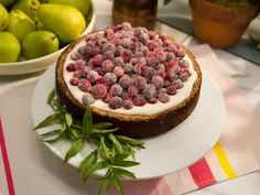 Cranberry Meringue Cake - the Kitchen -  Love the frosted cranberries. Good for lots of uses.