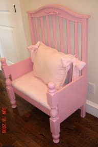 Crib turned into chair - Great way to keep your childs crib and pass it down to them as a useable piece of furniture. I really like this idea!