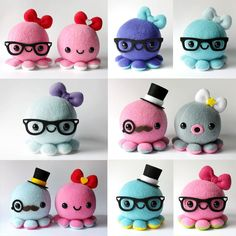 Custom Octopus Plush Toy!!  Choose colors and accessories: monocle, top hat, mustache, bow, glasses, smiley, surprised mouth, tongue sticking out....whatever you want. $24