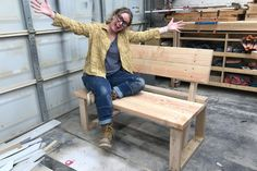 Ta-Da…. AWESOME bench! Great beginner bench build! #bench #woodworking #outdoorbench Woodworking Tutorials, Woodworking Furniture Plans, Bench With Back, Building Plans, Outdoor Projects, Beautiful Homes, Entryway Tables, Home Furniture, Shed