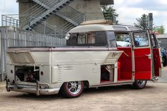 #Volkswagen #T1 double cab, white with red interior ☮ re-pinned by www.wfpcc.com