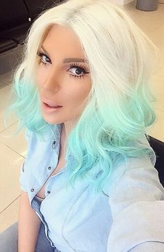 @karleusastar Blonde and turquoise blue ombre dyed hair