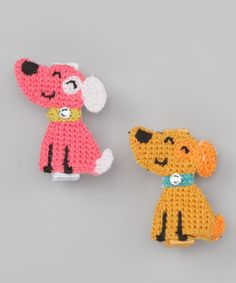 Take a look at this Ecru & Pink Dog Clip Set by Couture Clips on #zulily today!