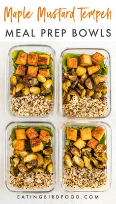 Maple mustard tempeh meal prep bowls with roasted brussels sprouts, quinoa and greens. Make this recipe on Sunday and eat well all week! #mealprep #vegan #tempeh #eatingbirdfood