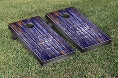 Wisconsin-Stout Blue Devils Weathered Wood w/ Logo Cornhole Board & Bag Set