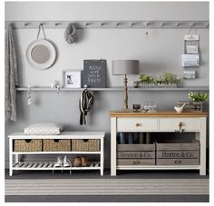 Bench with shoe rack and storage bins