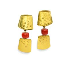 Nancy Michel. Earrings: Red & Gold Earrings, 2016. 18K and 22K yellow gold and red coral beads. Photo by: Patina Gallery.