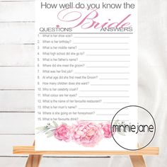A Great Game for any Bridal Shower.  This simple and elegant Pink Peonies design will add a memorable touch to your Bridal Shower or Kitchen Tea.