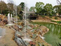 Man-made layered waterfall at Xinshe Castle