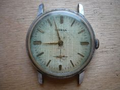 03.04.16/ Pobeda Vintage Soviet wrist watch for parts. Not work. The axis of balance is not broken. Shturmanskie Chaika Seconda Slava