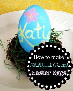 How to make you own chalkboard paint Easter Eggs! www.skiptomylou.org