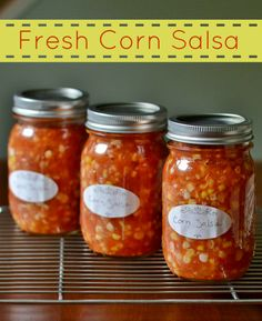 This fresh corn salsa is a delicious, healthy appetizer that will remind you of CSA produce all year long. Such a healthy recipe for canning! Tomato Salsa Canning, Salsa Canning Recipes, Canning Corn, Canning 101, Real Food Recipes, Mexican Food Recipes, Vegetarian Recipes, Free Recipes, Healthy Recipes
