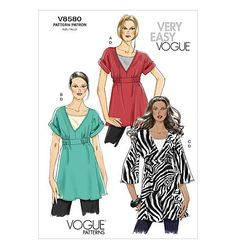 Vogue Pattern V8580 Pullover Tunic Kimono Sleeve XS s M | eBay