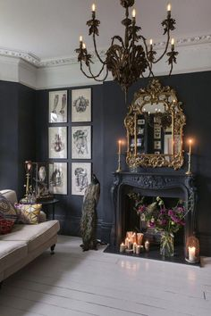 This house is a total dream! A living room with the most beautiful dark walls (and that mirror! that chandelier!), a new spacious kitchen, a rustic boho dining room (with THREE vintage chandeli - Wedding Home Decoration Victorian House Plans, Gothic House, Gothic Room, Victorian Living Room, Gothic Mansion, Haunted Mansion, White Interior Design, Home Interior, Gothic Interior