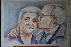 Mi querida madre. Formato A2. Acuarela realizada por Conchi Moreno.  #retrato #acuarela #beso