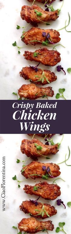 Crispy Baked Chicken Wings Recipe (Healthy) | http://CiaoFlorentina.com @CiaoFlorentina