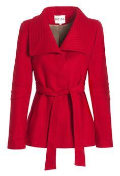 Reiss red crop coat