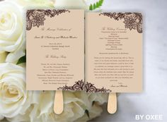 Printable Wedding ceremony fan program template Vintage Brown lace pattern by Oxee, DIY, Editable in Word