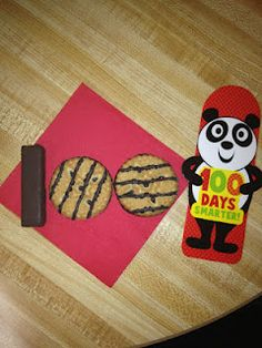 100th day of school ideas - tootsie roll and 2 fudge stripe cookies
