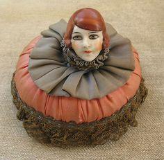 Antique Pin Cushion Head Half Doll Flapper German | eBay