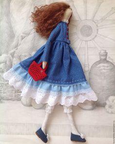 Купить Кукла тильда Софи. Интерьерная текстильная кукла. - синий, красный, тильда, кукла Тильда