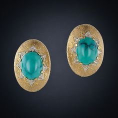 Buccellati-esque Turquoise Earrings,From mid-century Italia come these splendid oval turquoise ear clips rendered exactly in the manner of the renowned jeweler Buccellati. 1 inch long by 9/16 inch in width.