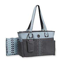 Carter's Fashion Tote Diaper Bag in Grey Faux Suede