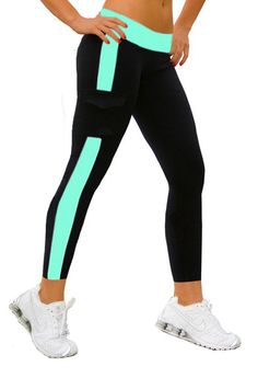 iLoveSIA Women's Tight Ankle Legging Capri US Size S Black+Lake Blue