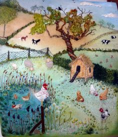 Farmyard  Stumpwork embroidery on painted background