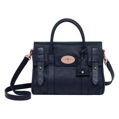 Mulberry Small Heritage Bayswater Satchel Nightshade Blue Pebbled Matte