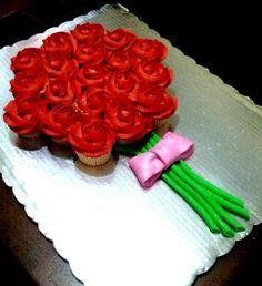 Ramo de rosas con cupcakes