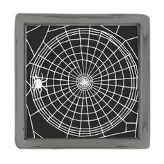 #customize - #Square Spider Web Scary Halloween Design Gunmetal Finish Lapel Pin