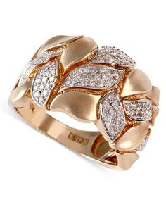 D'Oro by EFFY Diamond Brushed Leaf Band (3/8 ct. t.w.) in 14k Gold