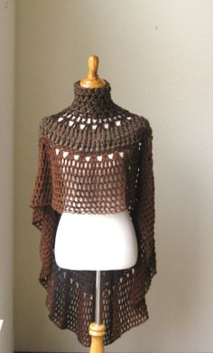 BROWN PONCHO SHAWL Crochet Knit Trendy Chic Fashion por marianavail, $100.00
