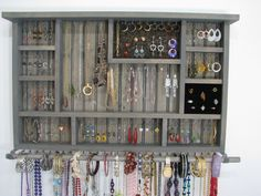 Distressed Wood Wall Jewelry Organizer Necklace Hanger with Shelf