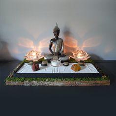 Meditación estatua de Buda / / Altar budista / mesa Santuario