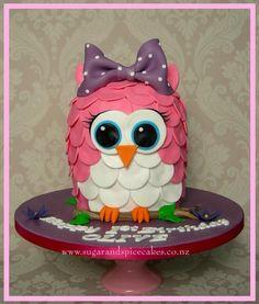 Baby Owl Cake - Cake by Mel_SugarandSpiceCakes Owl Cakes, Cupcake Cakes, Cupcakes, Beautiful Cakes, Amazing Cakes, Owl Kitchen Decor, Owl Themed Parties, Gravity Defying Cake, Edible Printing