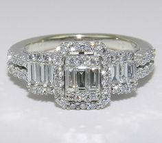 14K White Gold 3Stone Brilliant 1 ct Diamond by GalaxyGems on Etsy, $1000.00
