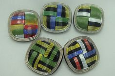 Czech Glass Buttons 5 pcs hand painted by CzechBeadsShop